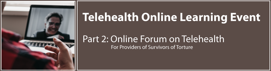 Telehealth Online Learning Event: Part 2: Join us for an online forum on telehealth for providers of survivors of torture. Photo of person in foreground with red and black shirt with hand showing over laptop view of other person smiling on video call in background. Photo by Dylan Ferreira on Unsplash