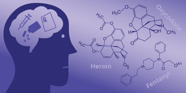 Image of head with drugs and pills and next to the head the chemical composition of heroin, fentanyl and oxycodone.