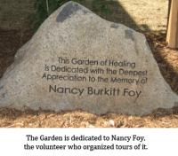 "Rock with the words engraved: ""This Garden of Healing is Dedicated with the Deepest Appreciation to the Memory of Nancy Burkitt Foy."""